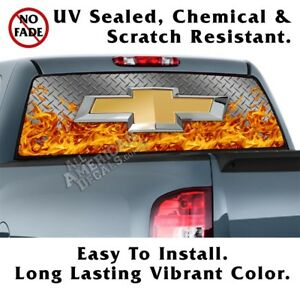 Chevy Diamond Plate flames Back Window Graphic Perforated Film Decal Truck Suv