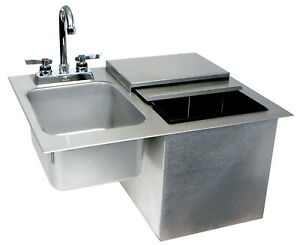 Glastender Commercial Drop in Ice Bin With Sink Faucet