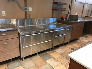 14 Gauge Stainless Steel Work Table With Six Drawers Backsplash Drain Hookup