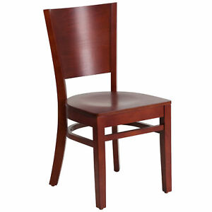 Flash Furniture Lacey Series Solid Back Mahogany Wooden Restaurant Chair