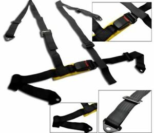Car Truck 4 Point Racing Seat Belt Harness Adjustable Auto Universal Black