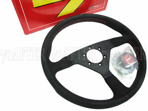 Momo Steering Wheel Monte Carlo 350mm Alcantara Red Stitch Honk Black Spoke
