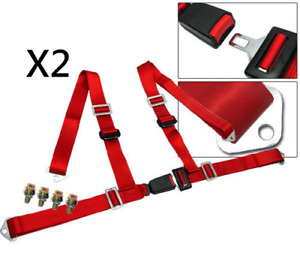 Pair Car Truck 4 Point Racing Seat Belt Harness Adjustable Auto Universal Red