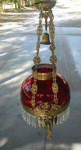 Spectacular Antique 38 Brass Oil Chandelier W 14 Diameter Cranberry Red Globe