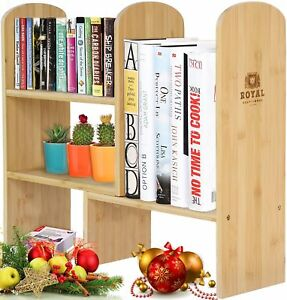 Expandable Natural Bamboo Desk Organizer Desktop Shelf Rack Display Office Books