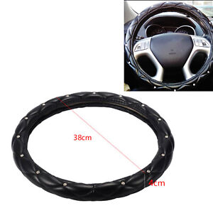 38cm Soft Pu Leather Rhinestone Car Steering Wheel Cover Auto Truck Skidproof Us