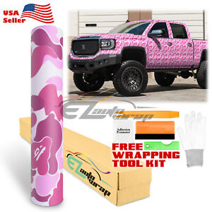36 X60 Pink Ape Camouflage Camo Car Vinyl Wrap Sticker Decal Film Air Release