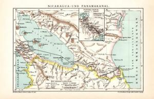 Panama Canal Nicaragua Canal Lithograph 1892 Old Historical Map Antique Print