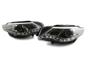 Chrome E code Projector Headlights W S5 Style Led Strip For 09 11 Vw Cc