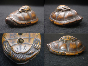 Japanese Traditional Antique Netsuke Turtle Wood Hand Carved Sagemono