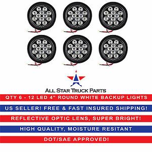 4 White 12 Led Round Backup Reverse Truck Light With Grommet Pigtail Qty 6