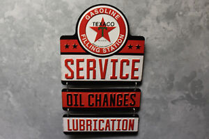 Vintage Style Texaco Service 3 Part Emboss Metal Signs Gas Pump Globe Oil New