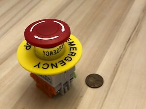 Yellow Ring 660v 10a 40mm Red Sign Emergency Stop Switch Mushroom Push Button A5