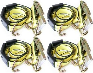 4 Pack 2 X10 Tire Double J Wire Hook Strap Ratchet Car Hauler Wheel Tie Down