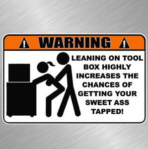 Warning Tool Box Vinyl Decal Sticker Funny Get Tapped Mechanic Wrench Snap On