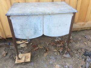 Vintage Galvanized Double Wash Tub With Lid Country Farm On Wheels Shabby