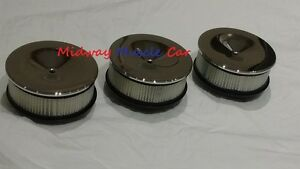 Chrome Tri Power Air Cleaner Set Lid Base Filter 64 65 Pontiac Gto Olds 442