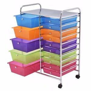 15 Drawer Rolling Mobile Storage Organizer Cart File Tools Craft School Office