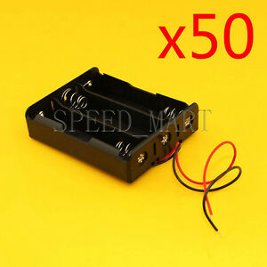 50 Pcs High Quality 18650 3 Battery Storage Clip Holder Box Case With 15cm Lead