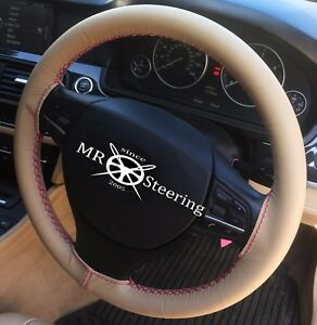 Beige Leather Steering Wheel Cover Hot Pink Double Stich For 07 Mercedes C W204