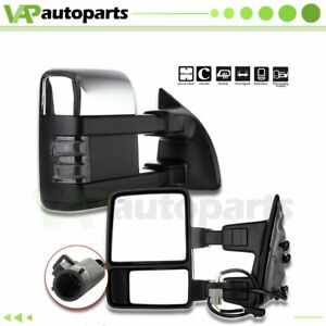 L R 1999 07 Ford F250 F350 F450 F550 Chrome Power Heated Signal Tow Side Mirrors
