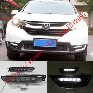Direct Fit White 5 Led Daytime Running Lights Drl Fog Lamp For Honda Crv 2017 Up
