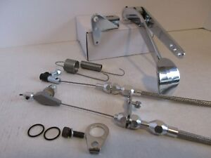 Chrome Spoon Gas Pedal Stainless Throttle 700r4 Cable Bracket Kit 9507 54 55 51