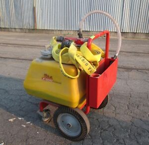 Hct F 500 Portable Fire Suppression Cart W Fire Hose And Nozzle Used