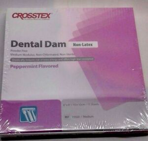 Rubber Dam Non latex Medium Crosstex 6 X 6 Peppermint Flavored