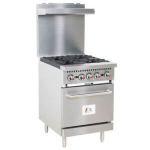 24 4 Burner Commercial Restaurant Natural Gas Range With 1 Oven