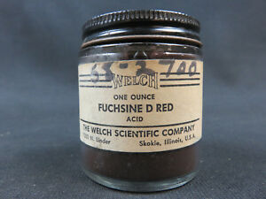 Fuchsin D Red Acid 1 Ounce In Vintage Welch Scientific Company Chemical Bottle
