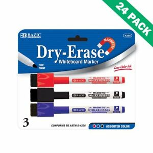Dry Erase Markers Bazic Dry Erase Marker Magnetic Multicolor With Eraser 24pc
