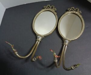 Pair Antique French Sold Brass Electric Wall Sconces With Oval Mirrors 2 Arm