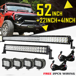 52inch Curved Led Light Bar Combo 22inch 4x4 Cree Pods 2pcs Free Wiring Harness