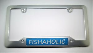 Fishaholic Billet Aluminum License Plate Frame Clear Anodized Blue Badge