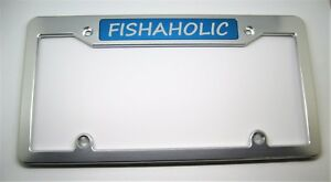 Fishaholic Billet Aluminum License Plate Frame Clear Anodized Blue Badge Top