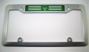 Punisher Billet Aluminum License Plate Frame Clear Anodized Green Badge Top