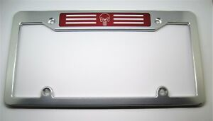 Punisher Billet Aluminum License Plate Frame Clear Anodized Red Badge Top
