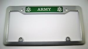 U s Army Billet Aluminum License Plate Frame Clear Anodized Green Badge Top