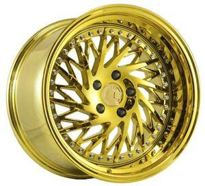 18x9 5 15 18x10 5 15 Aodhan Ds3 5x114 3 Gold Vacuum Fits Ford Mustang 350z