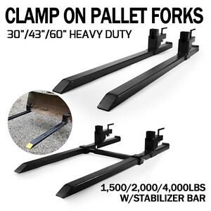 Pro 1500 4000lbs Capacity Clamp On Pallet Forks Loader Bucket Skidsteer Tractor