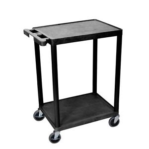 Plastic Utility Cart 2 Shelves Storage Organizer Home Business Rolling Wheels