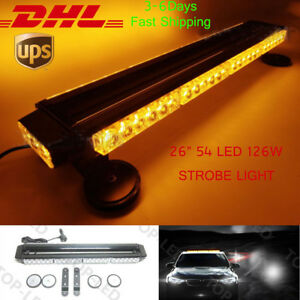 26 54led 162w Emergency Hazard Warning Double Side Strobe Light Bar Amber yellow