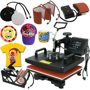 6 In 1 Heat Press Machine For T Shirts Machine Combo Kit Swing Away Sublimation