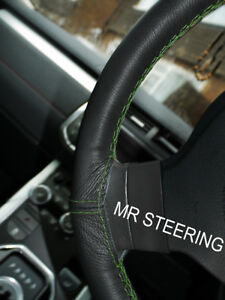 Black Leather Steering Wheel Cover Fits Volkswagen T3 79 90 Green Double Stitch