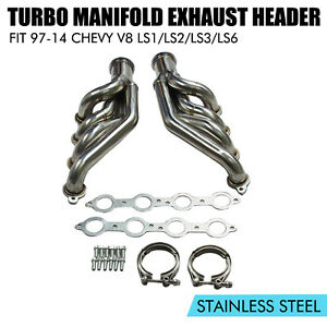 Turbo Manifold Exhaust Header For 97 14 Chevy Small Block V8 Ls1 ls2 ls3 ls6