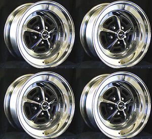 New Mustang Magnum 500 Wheels 15 X 7 Set Of Complete W Caps And Lug Nuts
