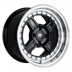 Mst Kunai 15x8 20 4x100 Black W Machined Lip set Of 4