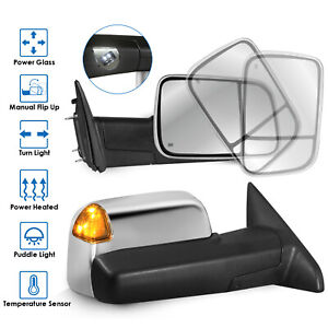 New Chrome Towing Mirrors Power Heated Led Signal For 2009 2012 Dodge Ram 1500