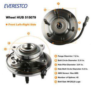 Set 2 Wheel Hub Bearing Assembly Front For 2005 2008 Ford F 150 W Abs 4wd 4x4